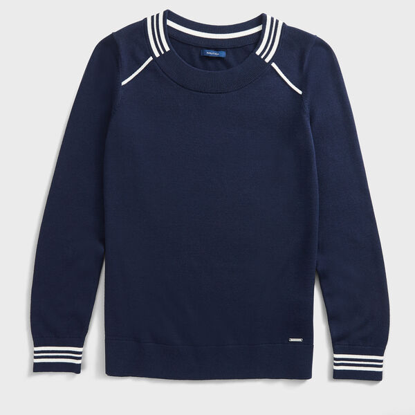 SUSTAINABLY CRAFTED STRIPE TRIM SWEATER - Stellar Blue Heather