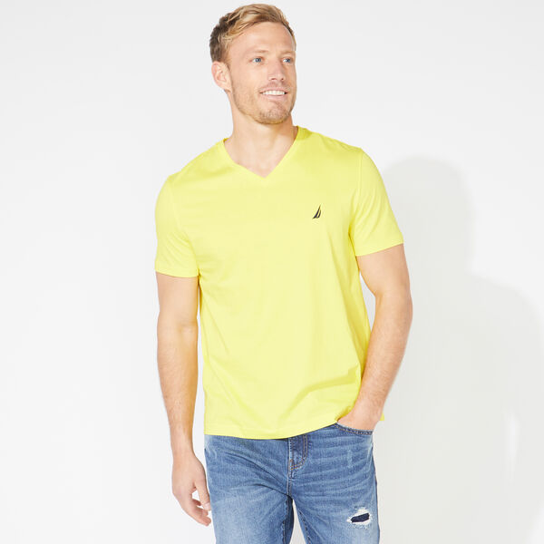 SOLID V-NECK T-SHIRT - Blazing Yellow