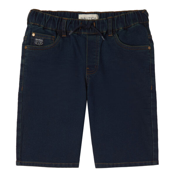 LITTLE BOYS' DENIM KNIT PULL-ON SHORT (4-7) - Ballard Blue