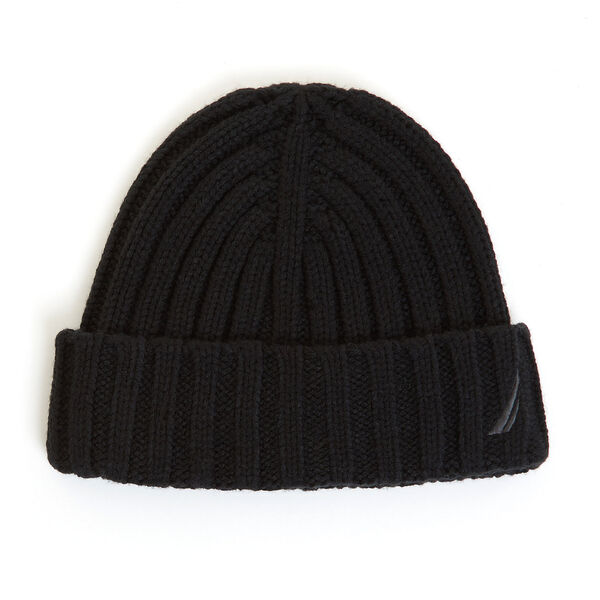 Ribbed Cuff Knit Beanie - True Black