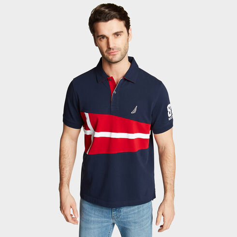 Classic Fit Jersey Polo in Flag Appliqué - Navy