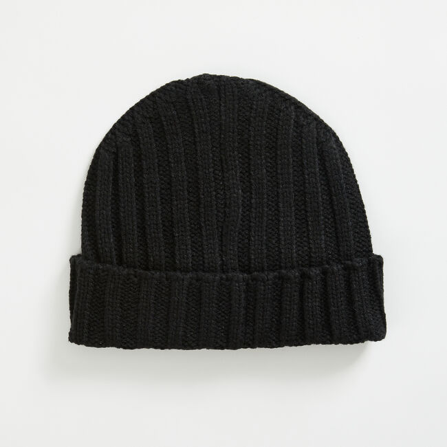 J-CLASS RIBBED-CUFF BEANIE,Black,large