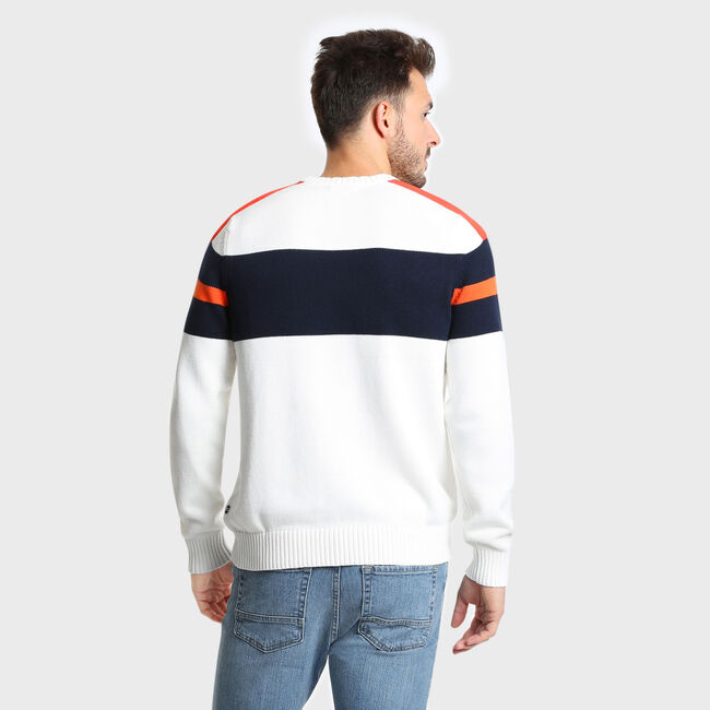 Challenger Crewneck Striped Sweater,Marshmallow,large