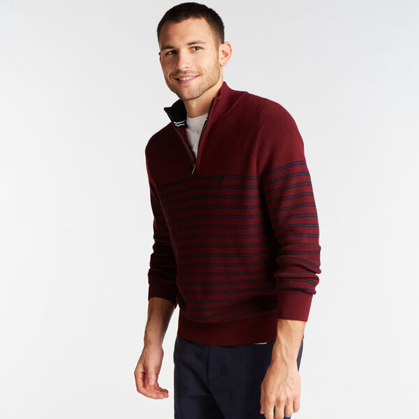 QUARTER ZIP STRIPE NAVTECH SWEATER - Royal Burgundy