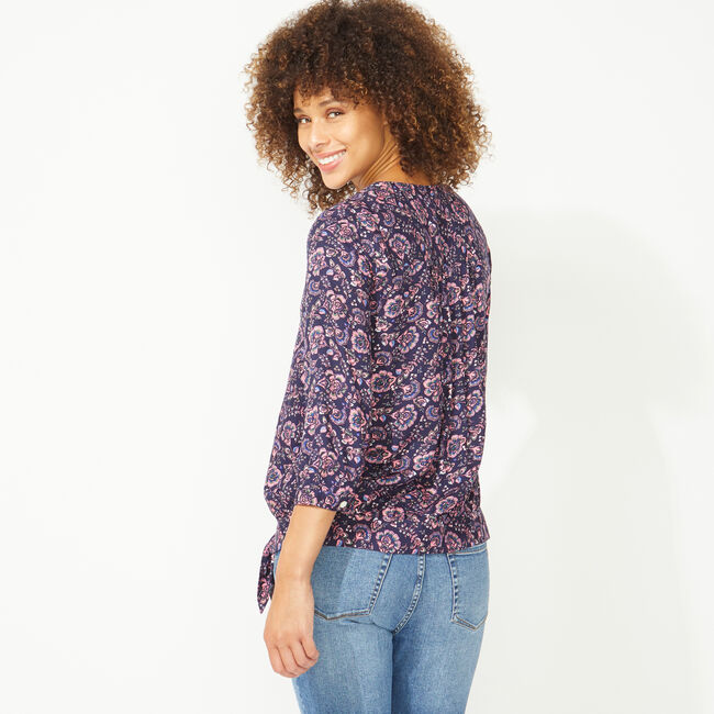 NAUTICA JEANS CO. PAISLEY WRAP TOP,Pink Shrimp,large