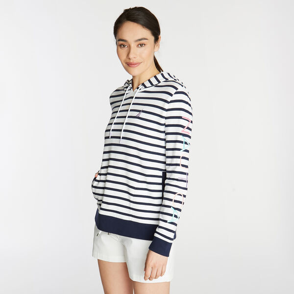 FRENCH TERRY HOODIE IN BRETON STRIPE - Bright White
