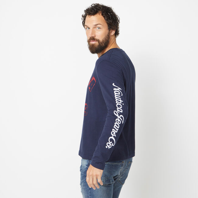 NAUTICA JEANS CO. BLOCK PRINT LONG SLEEVE GRAPHIC TEE,Pure Dark Pacific Wash,large