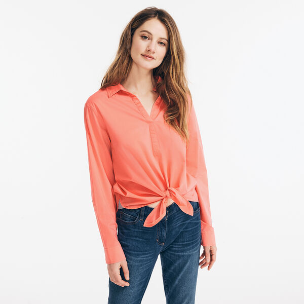 SUSTAINABLY CRAFTED TIE-FRONT SHIRT - Sugar Coral