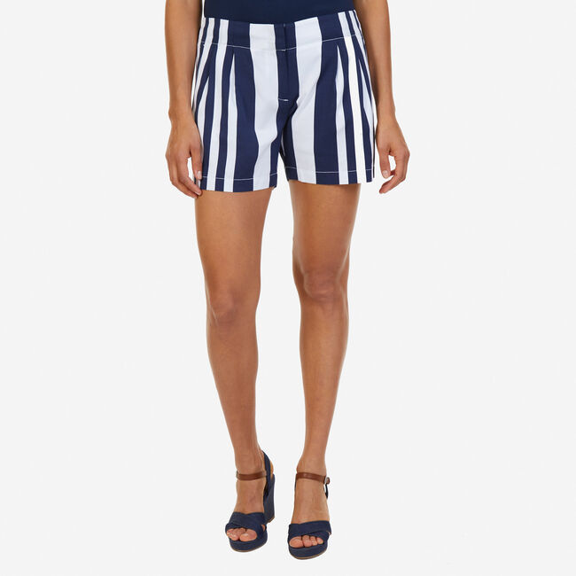 "Striped Pleated Shorts - 5"" Inseam,Deep Sea,large"
