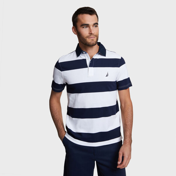Classic Fit Yarn Dyed Stripe Cotton Polo - Bright White