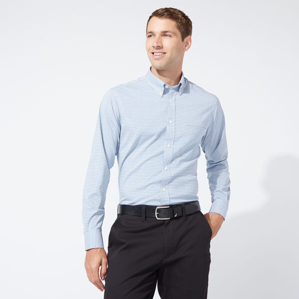 CLASSIC FIT PERFORMANCE TECH SHIRT IN MEDIUM BLUE CHECK - South Beach Aqua