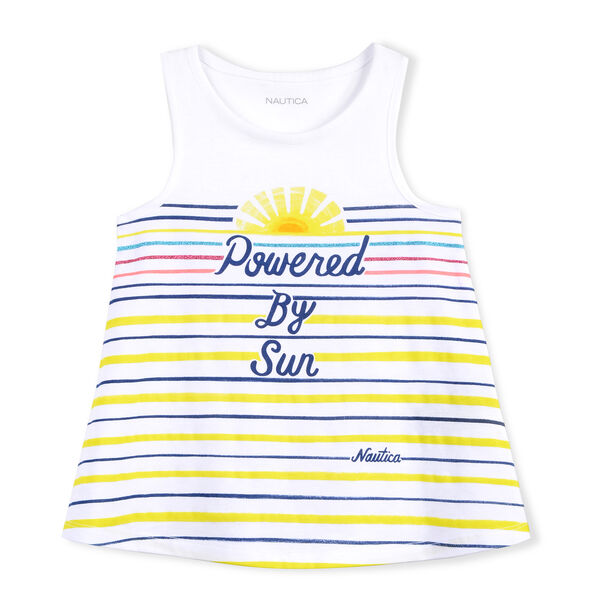 GIRLS' KNIT TANK IN POWERED BY THE SUN GRAPHIC - White