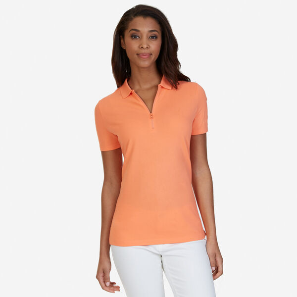 Zipper Polo Shirt - Orange Sunset