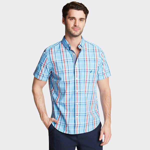 CLASSIC FIT SHORT SLEEVE POPLIN SHIRT IN PLAID - Silver Lake Blue