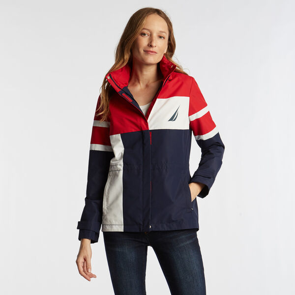 WOMEN'S COLOR BLOCK JCLASS JACKET IN NAVY SEAS - Stellar Blue Heather