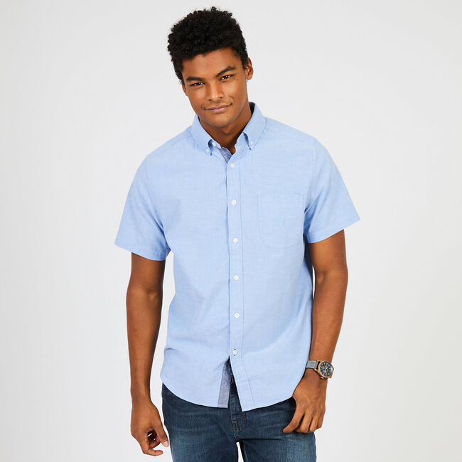 Short Sleeve Solid Chambray Classic Fit Button Down ,Riviera Blue,large