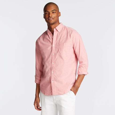 Long Sleeve Classic Fit Solid Oxford Shirt - Sailor Red
