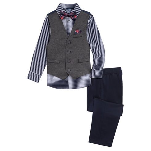 Little Boys' Stretch Horizontal Stripe Vest Set (4-7) - Riviera Blue