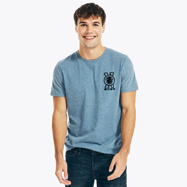 SUSTAINABLY CRAFTED MARINE GRAPHIC T-SHIRT - Anchor Blue Heather