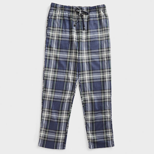 PLAID SUEDED FLEECE SLEEP PANT - Distressed Blue Wash