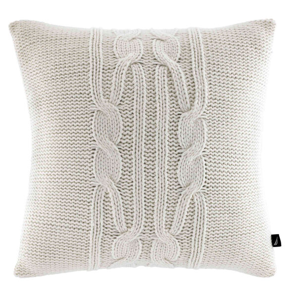 Cable-Knit Throw Pillow - Sail White