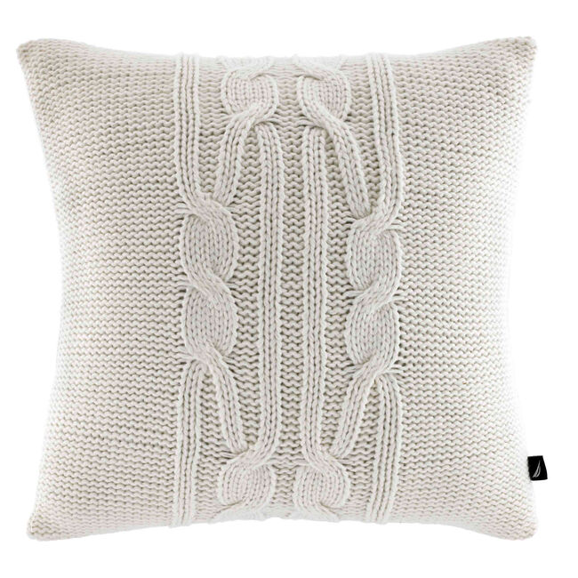Cable-Knit Throw Pillow,Sail White,large