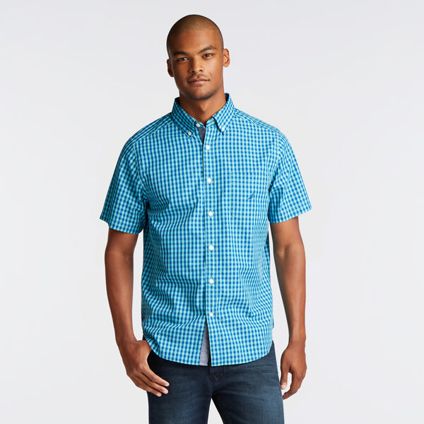 CLASSIC FIT SHORT SLEEVE SHIRT IN SUMMER GINGHAM - Pool Side Aqua