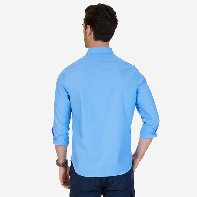 Solid Slim Fit Long Sleeve Button Down,Deep Sea,large