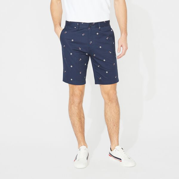 "10"" SLIM FIT ANCHOR AND SHIP WHEEL PRINT SHORT - True Navy"
