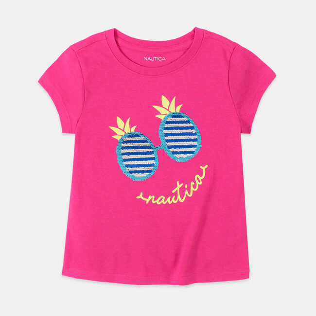LITTLE GIRLS' PINEAPPLE SUNGLASSES GRAPHIC SEQUIN T-SHIRT (4-7),Tango Red,large