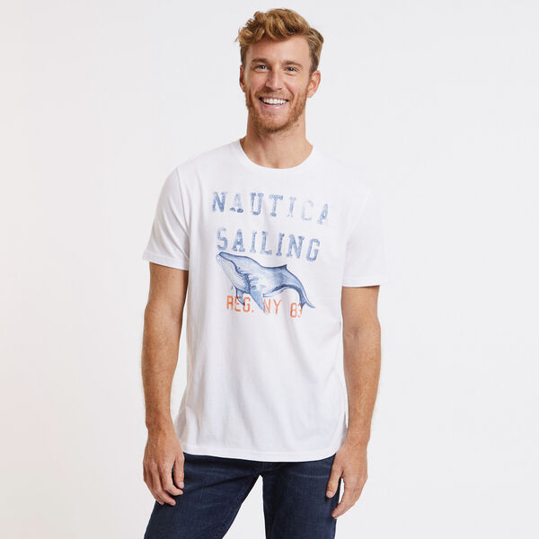 Nautica Sailing Whale T-Shirt - Bright White