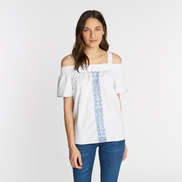 COLD SHOULDER EMBROIDERED TOP - Bright White