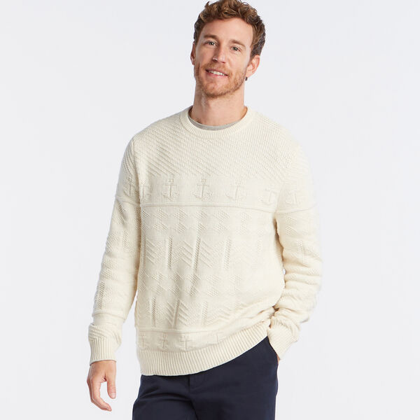 CREWNECK FISHERMAN'S SWEATER - Natural