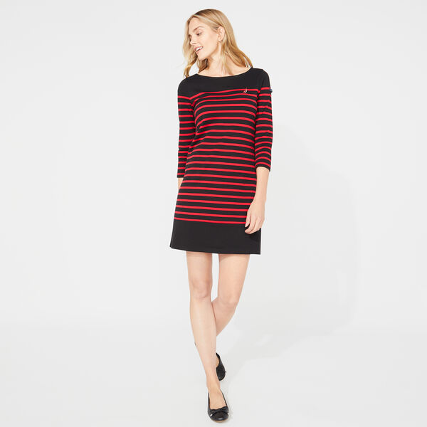 STRIPE BOATNECK KNIT DRESS - True Black