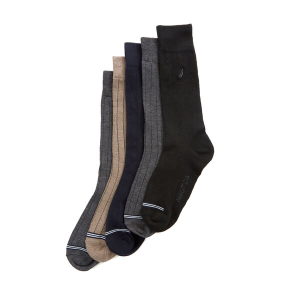 Solid Ribbed Dress Socks, 5-Pack - Dove