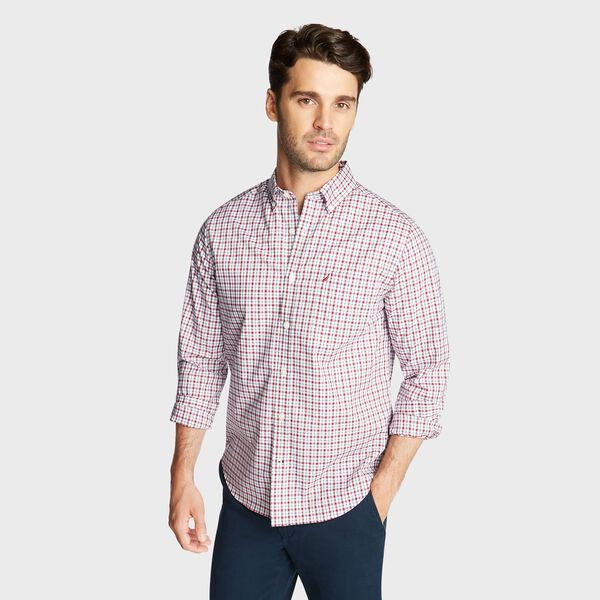 BIG & TALL WRINKLE RESISTANT SHIRT IN MINI CHECK PLAID - Nautica Red