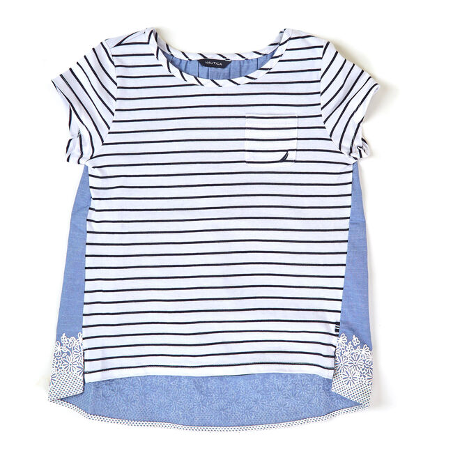 Toddler Girls' High-Low Laced-Up Tee (2T-4T),Pure Deep B,large