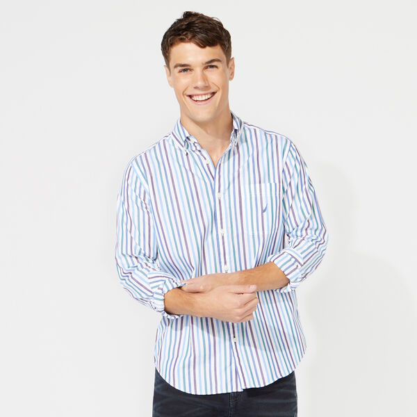 CLASSIC FIT LONG SLEEVE MULTICOLOR STRIPE SHIRT - Bright White