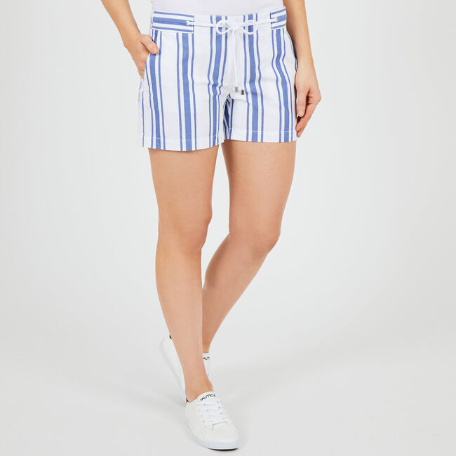 "Classic Stripe Shorts with Rope Belt - 4"" Inseam,Bright Cobalt,large"