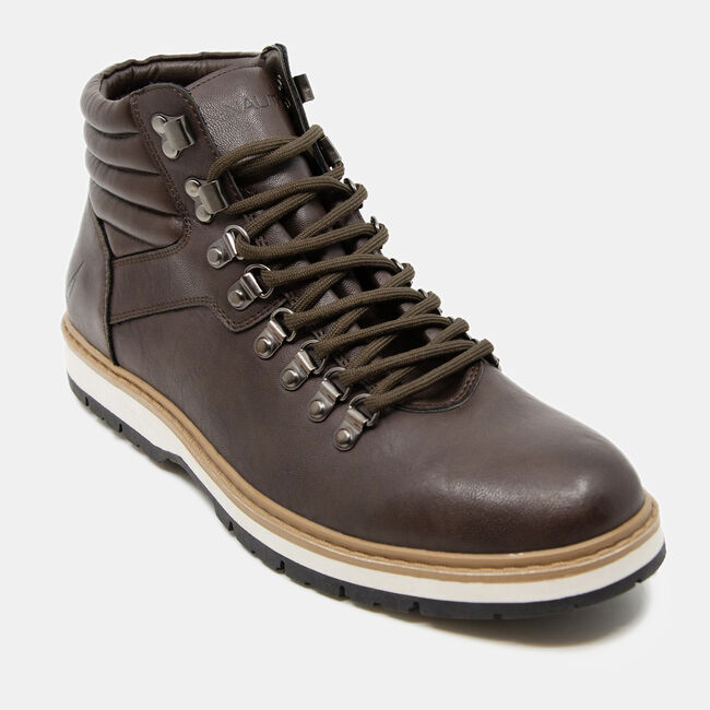 STACKED LACE-UP BOOTS,Brown Stone,large