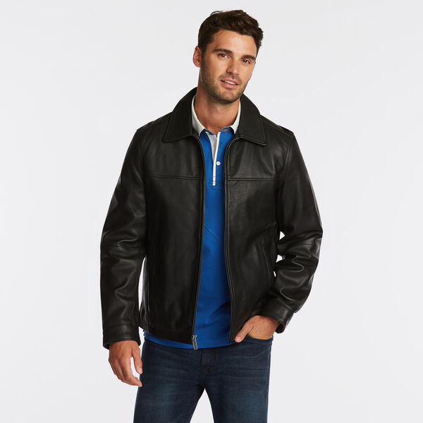 GENUINE LEATHER OPEN BOTTOM JACKET - Black