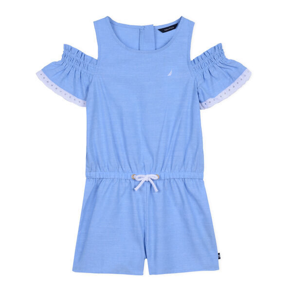 Toddler Girls' Ruffle Cold Shoulder Romper (2T-4T) - Peacoat