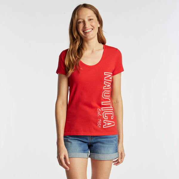 CLASSIC FIT T-SHIRT IN LOGO GRAPHIC - Tomales Red
