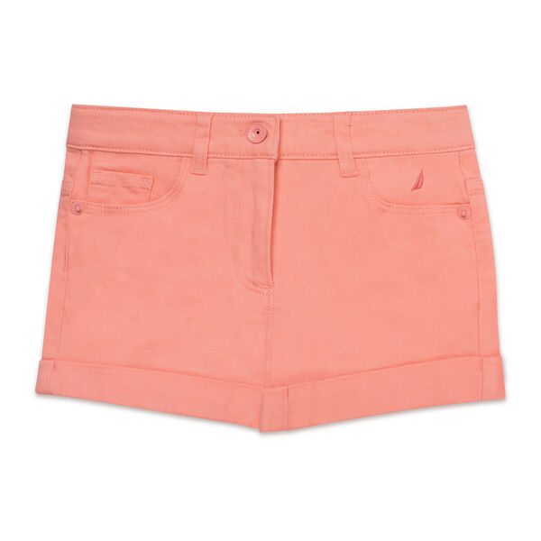Girls' Stretch Twill Shorts (7-16) - Salmon