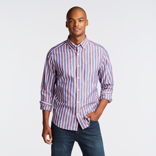 CLASSIC FIT POPLIN SHIRT IN VERTICAL STRIPE,Limoges,large
