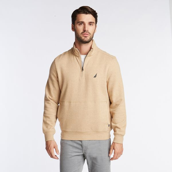 SUEDED FLEECE QUARTER ZIP PULLOVER - Camel Heather