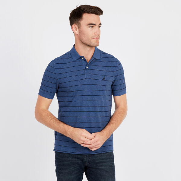 Classic Fit Piqué Polo in Breton Stripe - Deep Sea