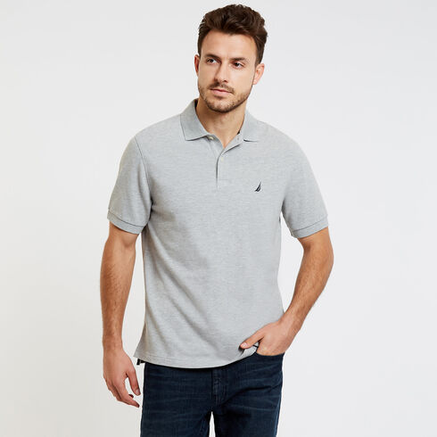 Short Sleeve Classic Fit Solid Pique Polo - Grey Heather