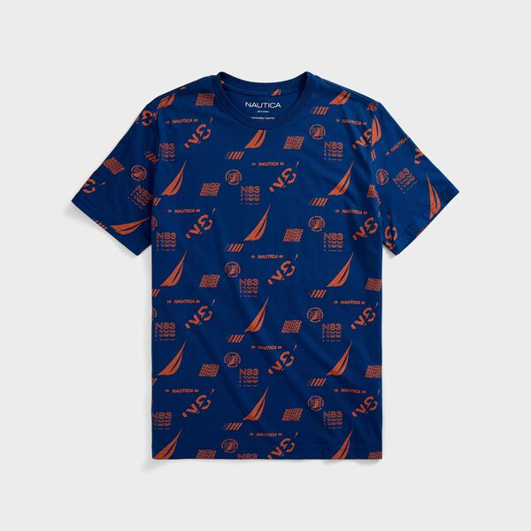 SUSTAINABLY CRAFTED MULTI-LOGO GRAPHIC T-SHIRT - Estate Blue