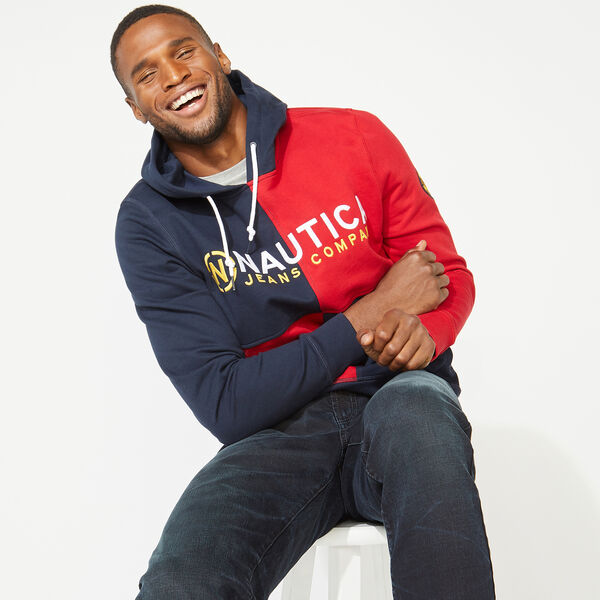 NAUTICA JEANS CO. COLORBLOCK LOGO HOODIE - Pure Dark Pacific Wash